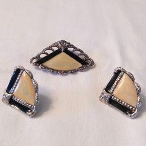 Vintage Brooch, Earrings Set